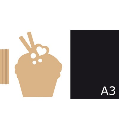 MDF set with Chalkboard cupcake (400904001)
