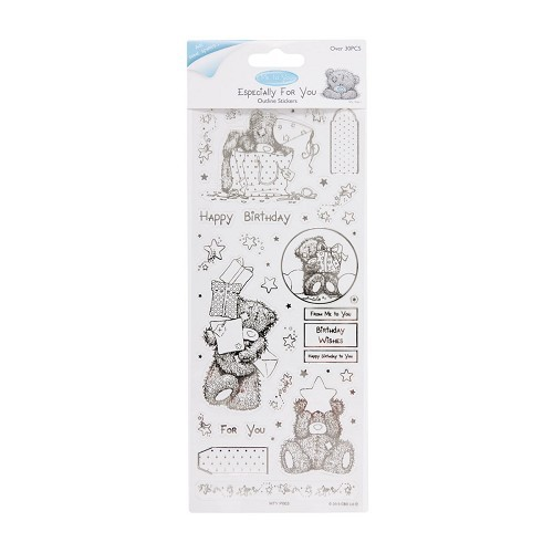 MTY 810102 Outline Stickers - Me To You (Birthday Bear) - Clear