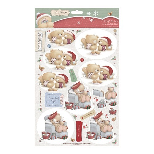 Forever friends A4 Decoupage (2pk) - Christmas Kraft Notes - Wrapped Up