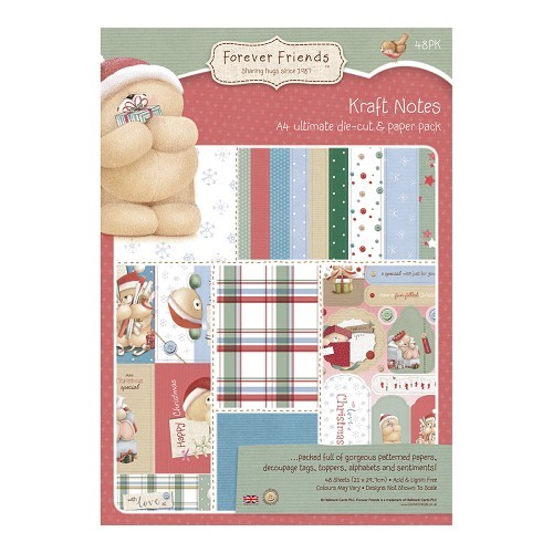 Forever friends A4 Ultimate Die-cut & Paper Pack (48pk) - Christmas Kraft Notes