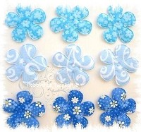 6 padded flowers bleu