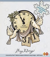 Clear stamp - amy design (ADST10002) clock with doves - ADST-10002