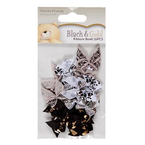 FFS 367200 Ribbon bows - black & gold (20pcs)
