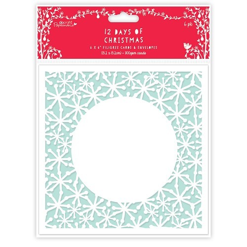 6 x 6 Filigree Cards & Envelopes (6pk) - 12 Days of Christmas